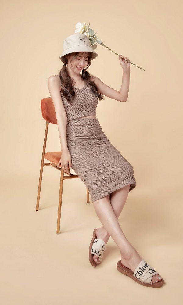 蕾絲甜美套裝(上衣+長裙)