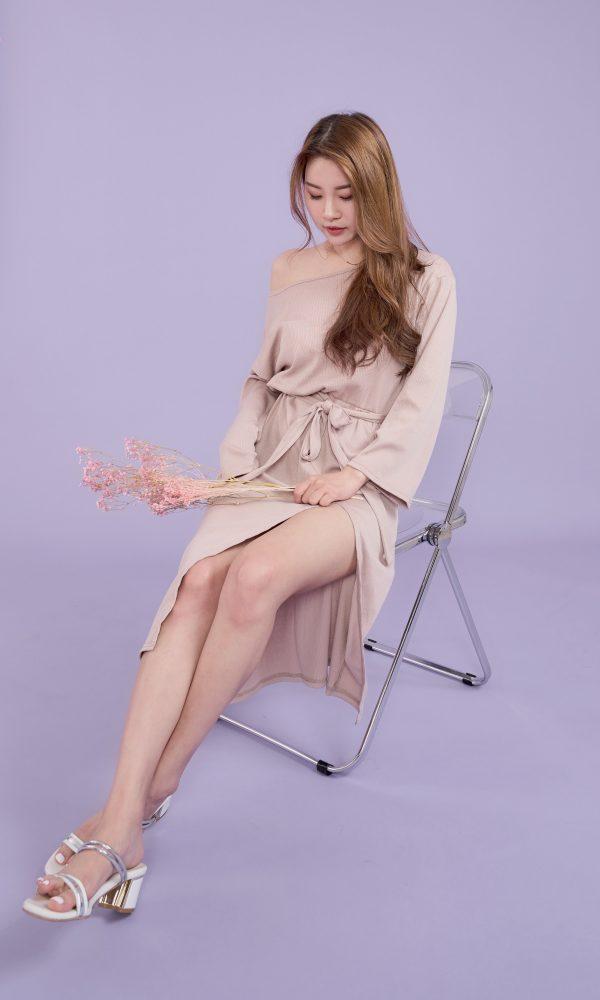 修身顯瘦開衩洋裝